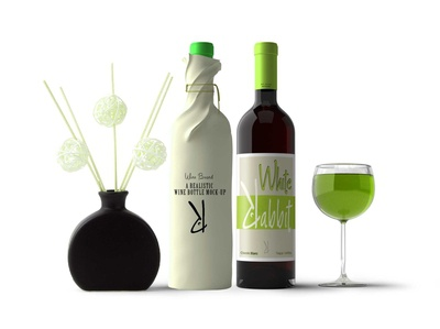 Frosted Green Wine Bottle Mockup