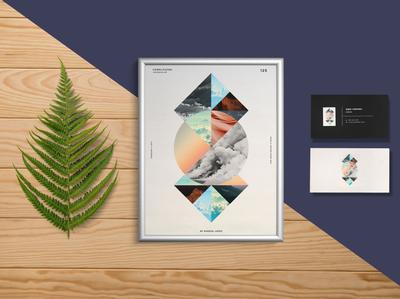 Poster Branding Visiting Card Mockup