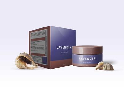 Premium Lavender Body Scrub Packaging Mockup
