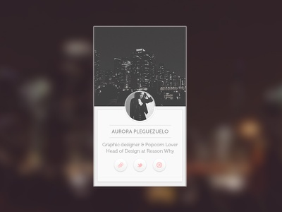 Profile bio ui ux window profile bio photo blurry background buttons social desktop web