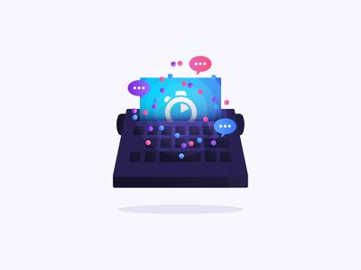 Content strategy illustration icon branding marketing gradients saas blogging typewriter illustration collaboration storytelling content algolia