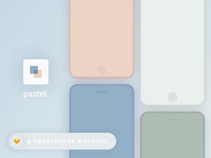 Pastel. - Smartphone mockups  vectors mobile ui download sketch resources freebie smartphone mockups