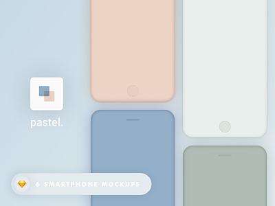Pastel. - Smartphone mockups  vectors mobile ui download sketch resources freebie smartphone mockups