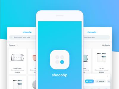 Shoooöp - Mobile search exploration app ecommerce search shop store cards ui ux mobile