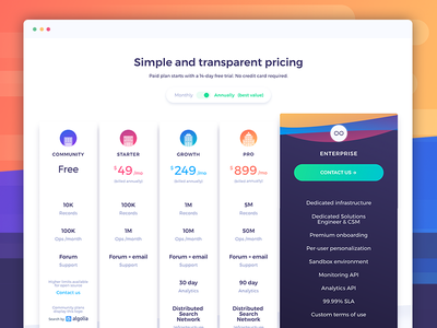 New Website - Pricing page gradient landing mockup switch search plans table pricing ux ui web algolia