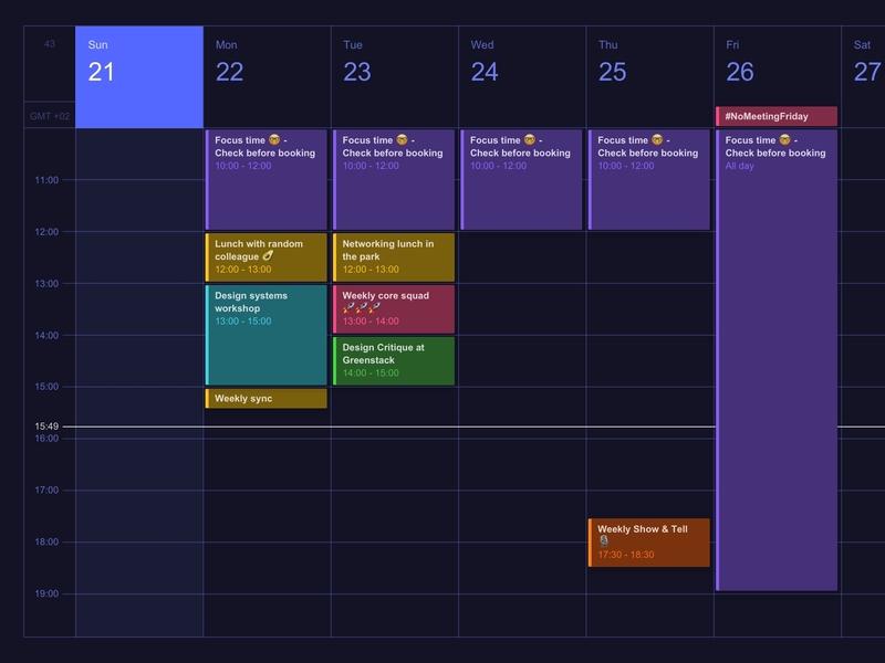 Calendar calendar design events productivity darkmode calendar web app ui