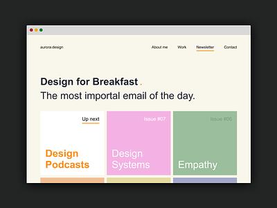 Design for breakfast. news feed newsletter design web