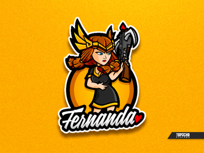 FERNANDA women queen mascot logo logo gaming logo esport logo illustration girl gaming logo gaming gamer esports esport logo clash of clans brand body artwork art archer