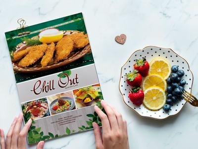 Chill Out Menu Bi Fold Brochure Design Template