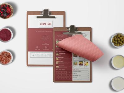 Grand Cafe Menu Bi Fold Brochure Design Template