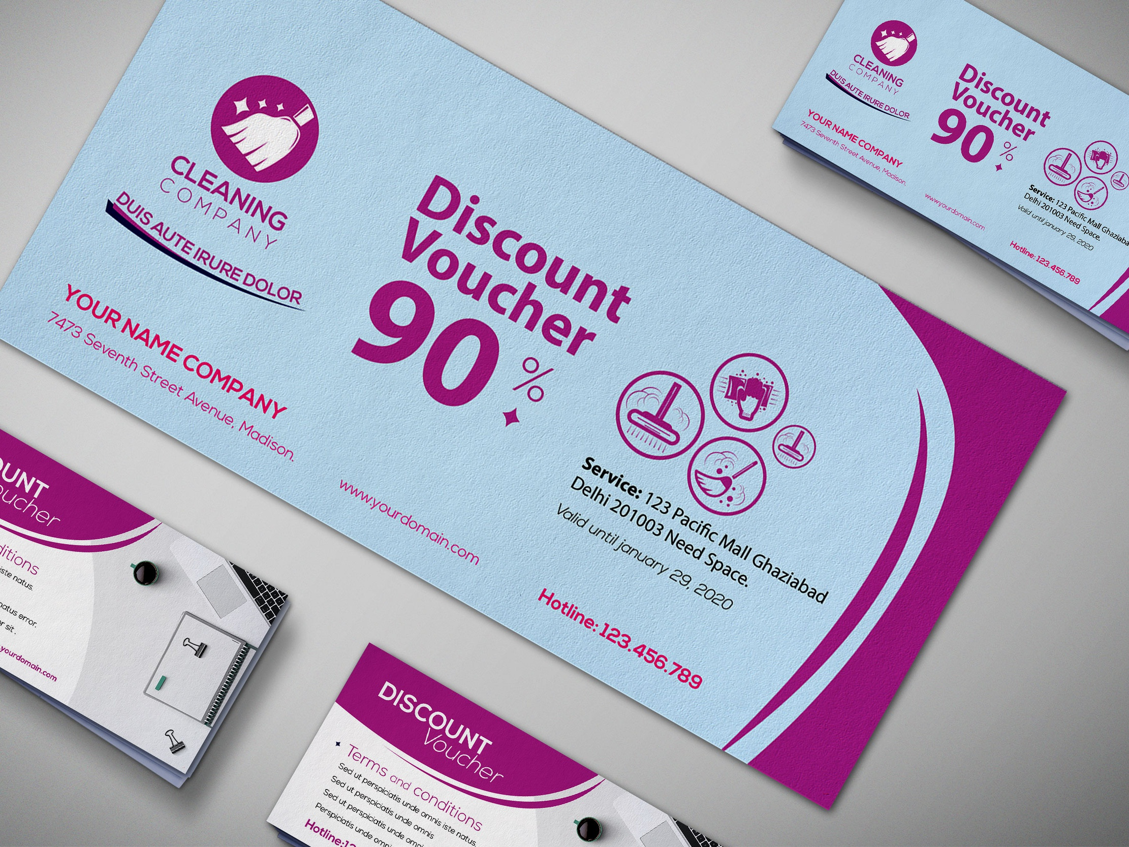 Cleaning service gift voucher design template  5