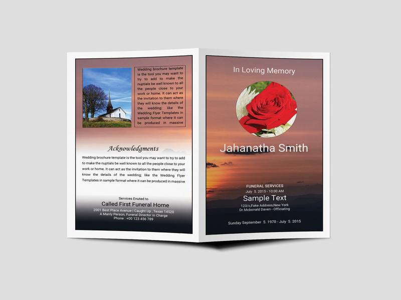 Funeral Program Bi Fold Brochure Design Template design design design psd template psd templates download psd download 2018 download psd