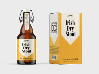 Iris Yellow Beer Bottle Label Mockup