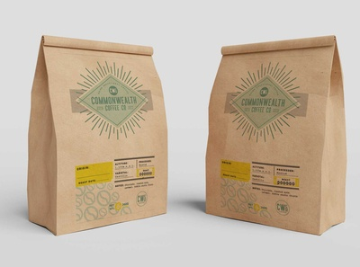 Free Green Coffee Paper Bag Mockup