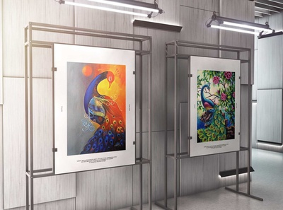 Free Canvas Art Gallery PSD Mockup