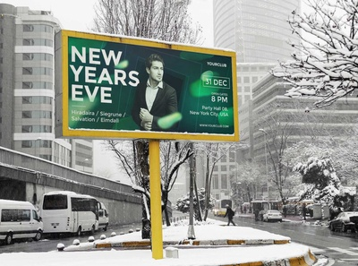 Free Winter Advertising Billboard Mockup