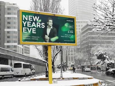 Free Winter Advertising Billboard Mockup