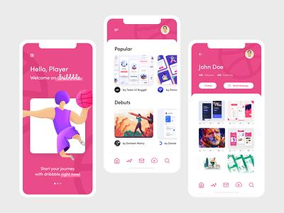 Dribbble Welcome Shot user inteface minimal light concept website app design welcome ui illustration