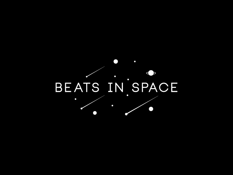 Beats In Space stars planet space beats in space identity logo branding