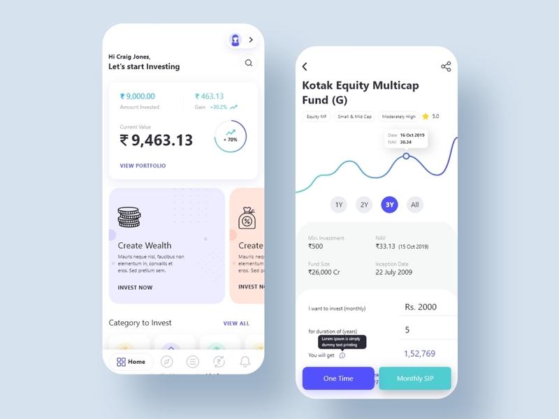 Nirmal bang Mutual fund app designed flat web app icon vector branding illustration dashboard design ui ux