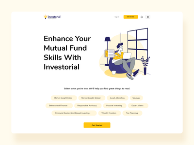 Investorial landing page animation web app logo branding design dashboard design vector art ui ux