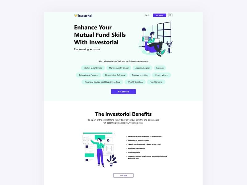 Blog Design for Investorial | India's Leading Fin-Tech web app illustrations branding blog product page landing page website design illustration ui ux design web app web design fintech app fintech finance