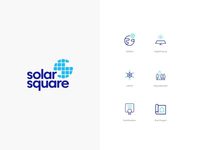 SolarSquare Energy Branding flat minimal illustrations ui ux solar logo solar sun sun logo branding design logo branding illustration line art design