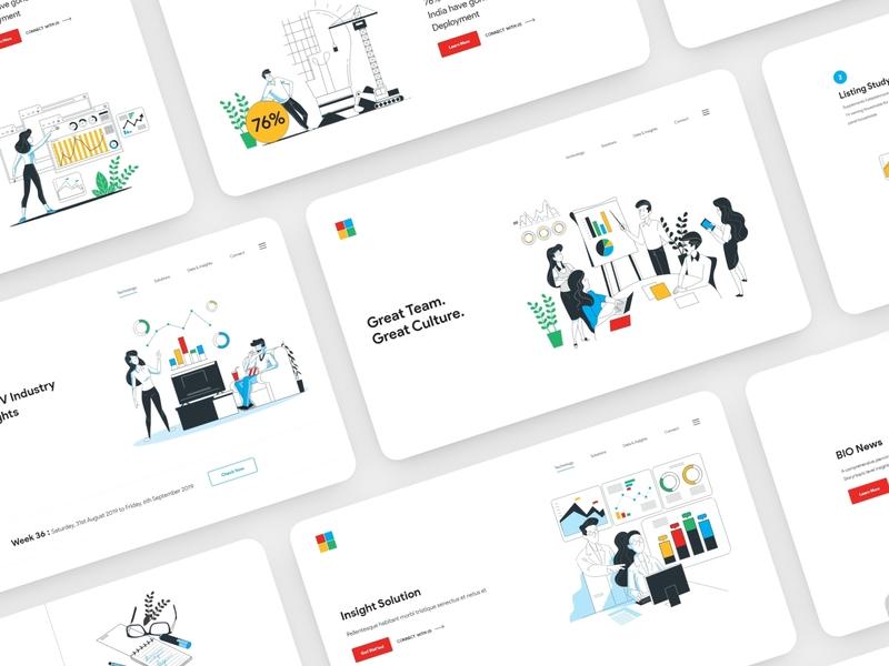 Landing Page Designs illustration branding illustrations website design web design landing page dashboard design design ui ux