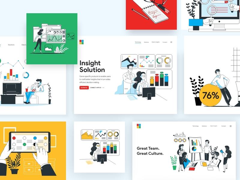 Illustrations for Landing Page webdesign flat clean typography illustration branding landing page app icon logo graphics vector line art dashboard design illustrations design ui ux
