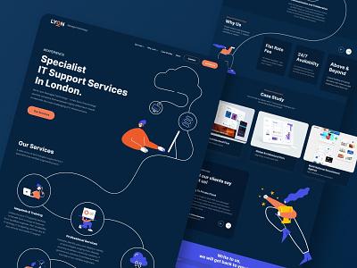LYON Home Page UI/UX Design & Development illustrator minimal logo website line art web illustration illustrations design branding ui ux