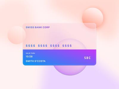 Credit Card - Swiss Bank Corp logo 3d graphic design branding design