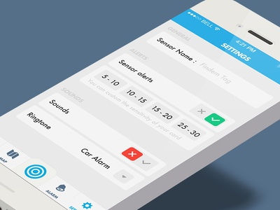 Tracking App - Flat Settings