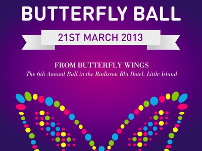 Butterfly Ball invite design charity promotional leaflets flyers