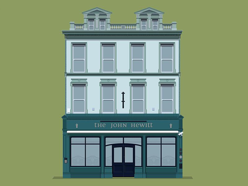 John Hewitt bar illustration flat design belfast beer pub