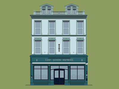John Hewitt bar illustration flat design belfast beer pub