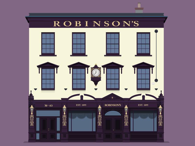 Robinson's Bar design illustration pub bar beer belfast flat