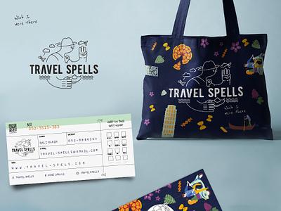 Travel Spells Branding businesscard illustraion logo branding