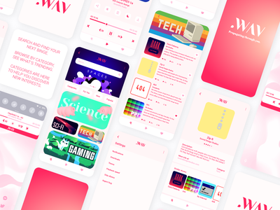 .WAV Light Mode 1 app ux pink illustration design vector logo branding ui