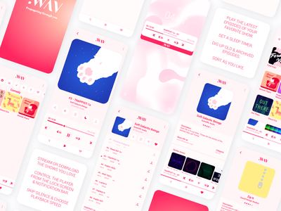 .WAV Light Mode 2 pink branding app design illustration logo ui ux vector