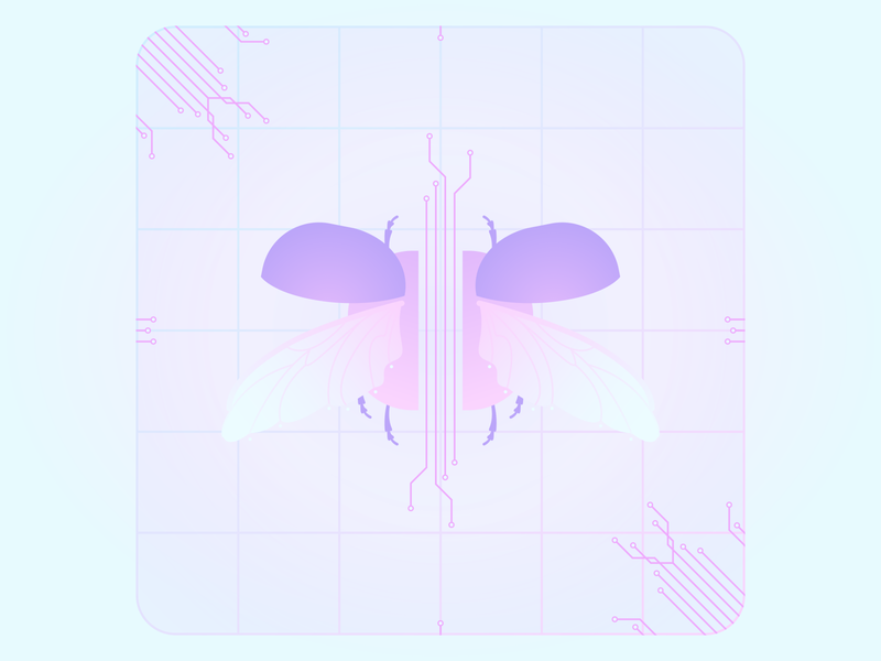 Incredible Creatures Week #1 illustration design vector tech wings light blue purple pink creatures incredible insect bug