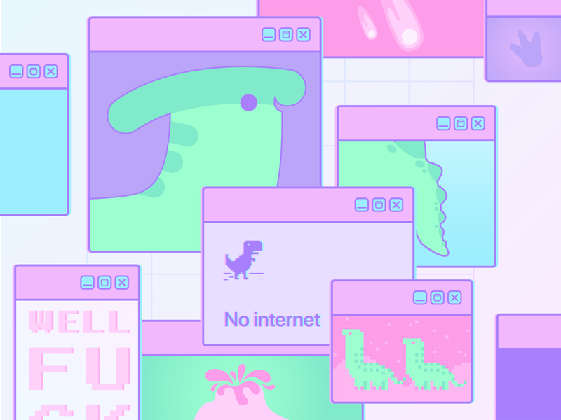 Incredible Creatures Week #4 purple dinosaur dino green pink pixelart space illustration design vector