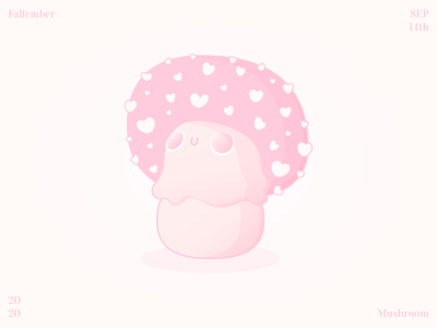 Fallember - Mushroom design typography pink vector illustration