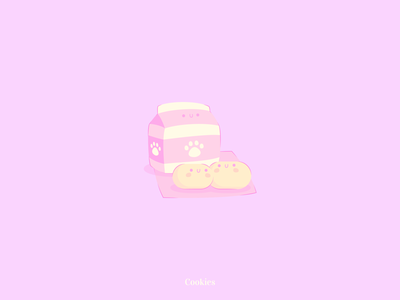 Moonlight Week - Cookies kawaii cookies milk yellow pink design illustration vector