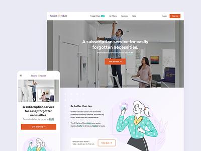 Second Nature Website Revamp design branding filters sales marketing illustration redesign revamp website