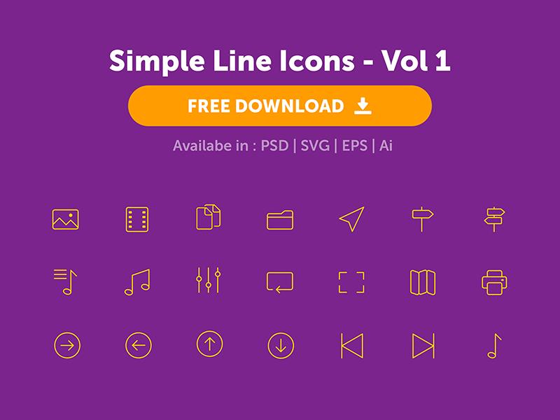 Simple Line Icons - Freebie svg eps ui web minimal design psd line icons freebie download free