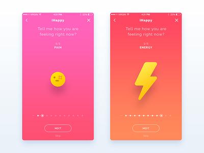 App WIP - UI/UX Design smiley mood iphone minimal flat design ux ui app ios