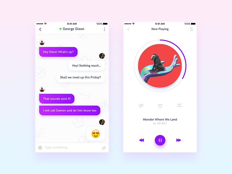 iOS Gui Kit - Vol 1 - Sneak Peek chat message player minimal music design ux ui app ios