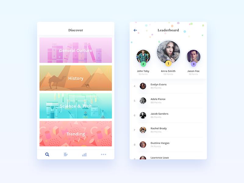 Noblyn App Redesign - iPhone UI/UX Design minimal dashboard leaderboard details iphone educational quiz ui app ios