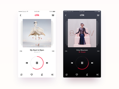 Music Player App - CLIK iphone design product stream player music ux ui android ios