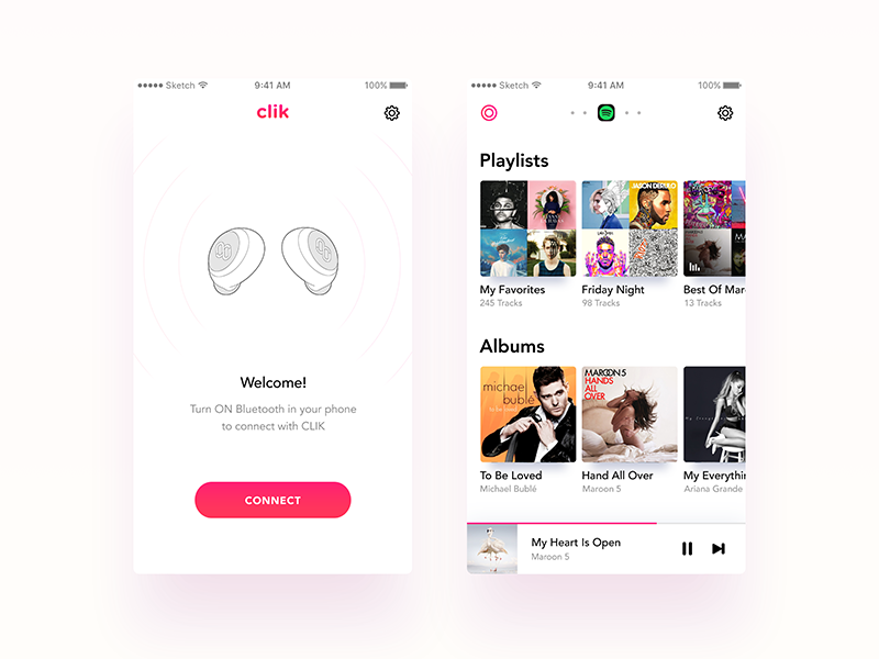 Music Player App - CLIK  iphone home empty state list player music ux ui android ios